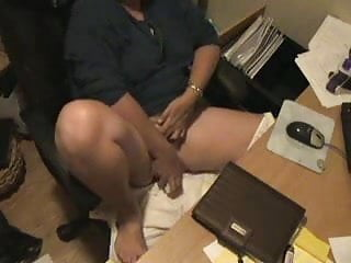My mummy masturbating at computer. Amateur hidden cam