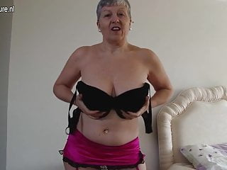 Horny big breasted British mature lady getting naughty