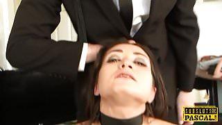 British squirter babe choked during anal fuck