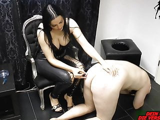 German domina slave torture with Cigarette and pain