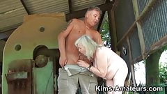 Black woman being assfucked by white man