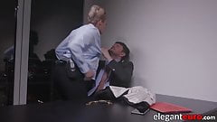 Euro MILF ass fucked by officer cock before cum in mouth