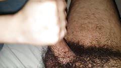 CFNM hairy handjob blowjob with cum swallowing