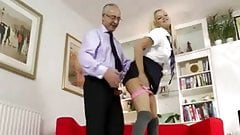 Busty babe fucked from behind by old guy