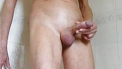 Skinny guy quick jerk and cum in the shower
