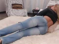 Orgasm in tight jeans on the floor