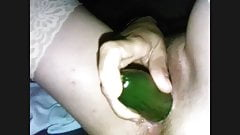 Sharing his wife a great cucumber