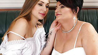 Mature woman and her teen lesbian friend