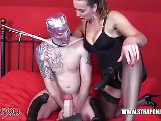 Preview 2 of Horny gimp gagging and anal fucking femdoms big strapon cock