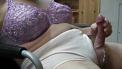 Crossdresser Cumshot Purple Bra Beige Panty
