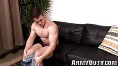 Military muscle showing off his ripped body and hard cock