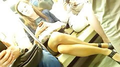 Discreet Crossed Legs Masturbation on Subway