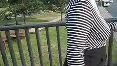 Braless upskirt stockings outdoor