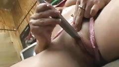 amateur slut masterbation with knife