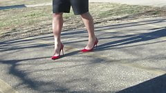 modeling my red stuart weizman heels