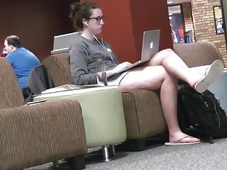 Candid Tall Brunette Feet & Legs at College Library