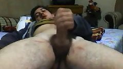 Hot cub jerking off on bed