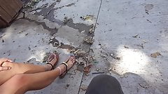 Sexy Asian girl feet on campus