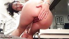 Busty Brunette Ass Fuck Huge Glass Dildo and Orgasm POV