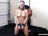 Sub Carmen Valentina Bound Chained & Fucked By 2 Cocks!