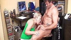 Caught jerking off by horny grandma!