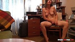 Brunette moans loudly while pleasuring her hairy pussy