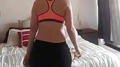 Pregnant babe teases and dances in black yoga pants