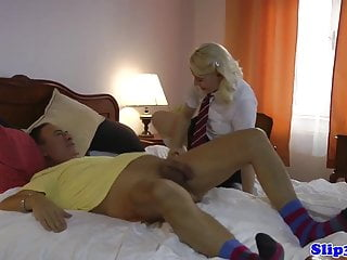 Preview 4 of Euro schoolgirl doggystyled by pensioner
