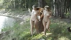 twin Masha & Sasha - naked in the woods
