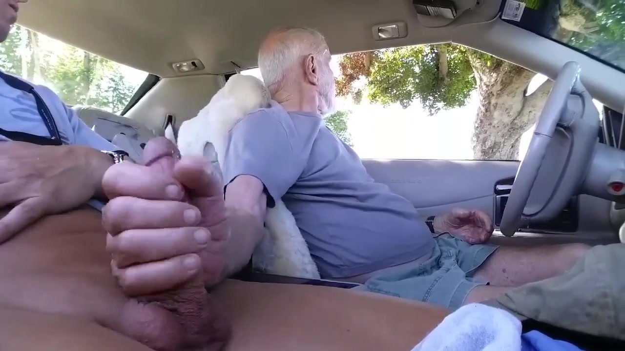 Hot cock stroking sucking in a car