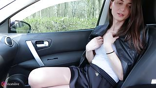 Some masturbation in the car transgender girl