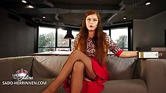 Office Domina: First working day as nylon and foot slave
