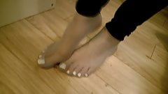 Sissy boy big feet in nylon socks
