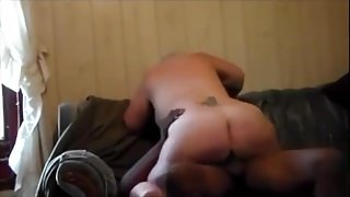 Mature blonde in interracial action