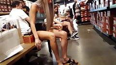 candid voyeur hot model blonde shopping shorts legs hot