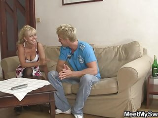 His cute blonde girl involved into taboo 3some