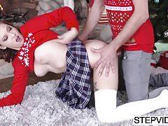 Riley Mae bangs her stepbro at xmas