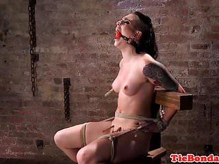 Maledom uses vibrator on tied up bdsm sub
