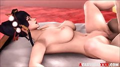 Big tits 3D babes giving blowjobs and fucking hard