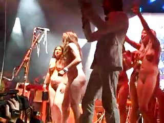 many girls public & flashing nude on pop concert stage