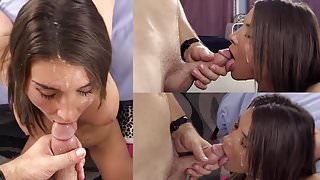 Well deserved facial for enthusiastic brunette