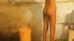 North indian girl bathing