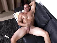 ActiveDuty Thick Cock Muscular Str8 Jerks off with Lube