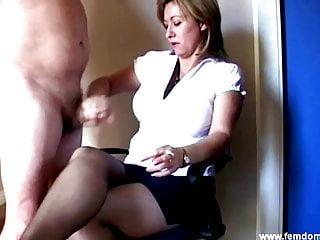 Femdom Mistress Cum on Sheer Nylon Pantyhose Again