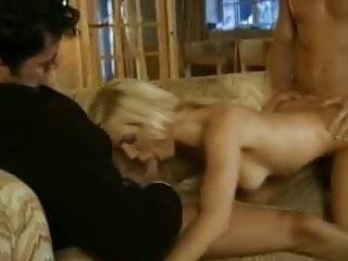 sexy blonde in trio MMF , very hot , DP