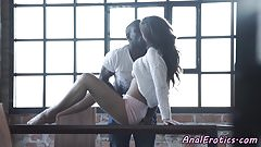 Anally banged beauty enjoys fat bbc
