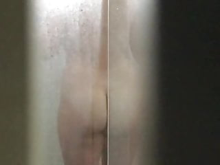 Spy Cam- showering wife with big tits and hairy pussy