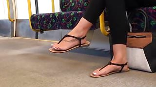 Candid feet in sandals with faceshot