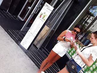 Candid voyeur thin tight teen in white shorts gorgeous