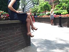 candid sexy legs in heels in street